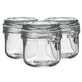 Argon Geschirr Glas Aufbewahrung Sandgläser mit luftdichten Clip Deckel - 200ml Set - weißes Siegel - Packung mit 3