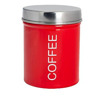 Contemporary Coffee Canister - Steel Kitchen Storage Caddy with Rubber Seal - Red