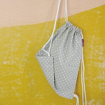 Saco de ginástica Puckdaddy Inga 29x38cm saco com cordão com padrão de pontos em cinza