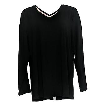 Isaac Mizrahi ao vivo! Women's Top V-Neck Forward Seam Knit Black A378219