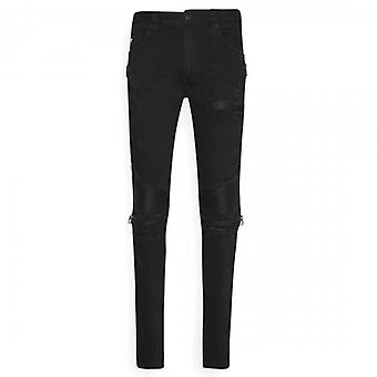 Amicci Arezzo Skinny Fit Stretch Black Denim Rip & Gerepareerde Jeans