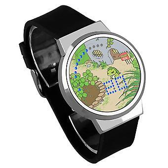 Nepremokavé svetelné LED digitálne dotykové detské hodinky - Cestovanie žaba #36
