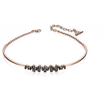Fiorelli Fashion Rose Vergulde Baguette Black Crystal Structured Choker Ketting 30cm + 7cm