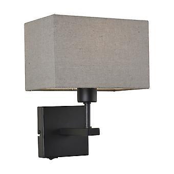 Moderne sengelampe Sort Matt 1 Lys med grå, rektangulær skygge, E27
