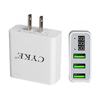 CYKE HKL-USB32 5V 3A 3-Port USB Wall Charger Travel Charger with Digital Display, US Plug