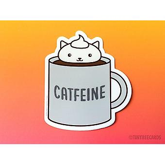 Catfeine-coffee Cat Vinyl Sticker