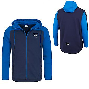 Puma Mens NET كامل Zip Color Block Hoodie Sweatshirt Jacket Navy 577173 03