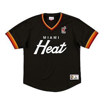 Mitchell & Ness Special Script Mesh V Neck T-Shirt Miami Heat MHEBLACK