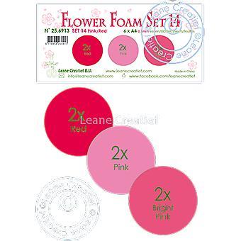 Leane Creatief Flower Foam A4 Set 14 Pink-Red