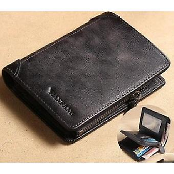 Leather Wallet, Small Mini Card Holder Pocket, Retro Purse