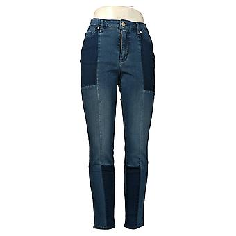 Martha Stewart Mujeres's Jeans Seamed Panel 5-Pocket Ankle Azul A351150