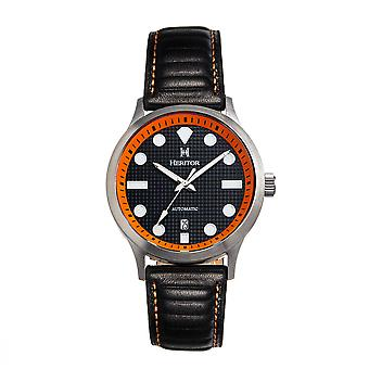 Heritor Automatic Bradford Leather-Band Watch w/Date - Black & Orange