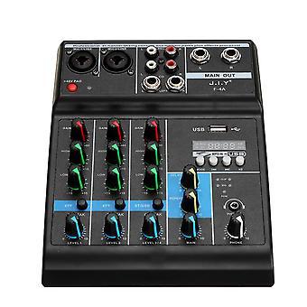 מערבל שמע 4 ערוצים Bluetooth מסוף ערבוב USB מגבר כוח במה מקצועי