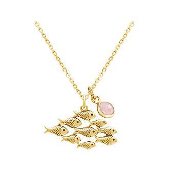 Halskette Maritim Meer Fisch Fischschwarm 925 Silber, vergoldet, rose ROSENQUARZ