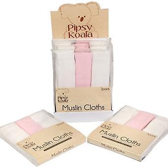 Pipsy Koala Muslin Cloths 3 pack White & Pink