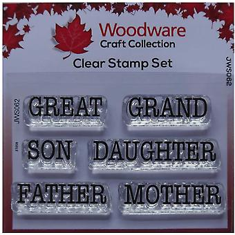 Houtwerk Just Words Great Grand Son Daughter Father Mother 1.5 in x 3 in Stamp