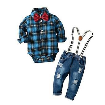 Baby Denim Clothes Cotton Plaid Rompers Gentleman Bib Jeans Clothing Suit