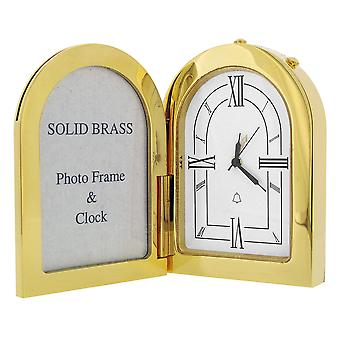 GTP Miniature Unisex Arch Photo Frame Goldplated On Solid Brass Novelty Collectors Mantle Piece Shelf Alarm Clock IMP1051