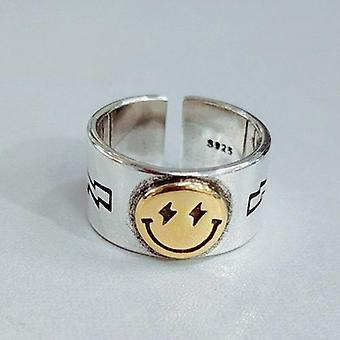 Smile Face Lightning Smiley Finger Ring Adjustable