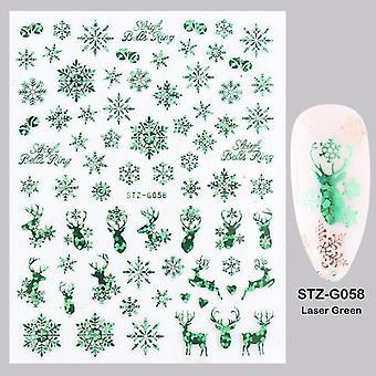 3d Nail Art, Christmas Slider Wraps, Snefnug, Elk Santa, Klæbende Flame