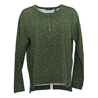إسحاق مزراحي لايف! Women's Top TRUE DENIM Floral Henley Green A388018