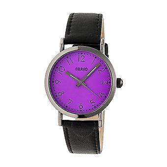 Crayo Pride Purple Dial Black Leather Watch CRACR3806