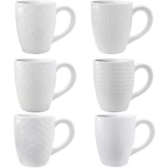 Amazon Brand - DZK 6 Pack Ceramic Coffee Mugs with 6 Different Artistic Patterns, 400 ml White Tea