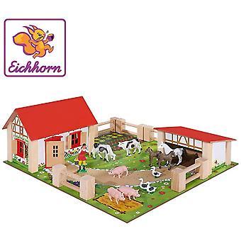 HanFei 100004304 - Kleiner Bauernhof, Bauernhof mit 2 Gebuden, Spielplatte, Figuren, Tiere, Zunen;