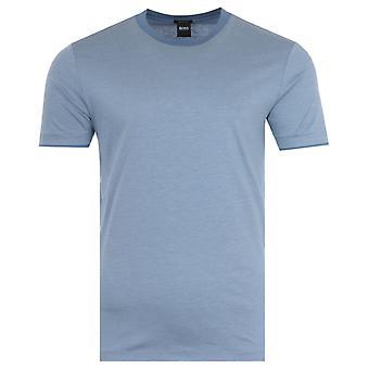 BOSS Tessler Stripe Mercerised Cotton T-Shirt - Pale Blue