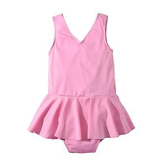 בגדי ים ילדים אירופה ילדה בצבע מוצק חצאית קטנה ילדה קשת בגד ים חתיכה אחת