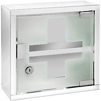 Chest-Medicine Cabinet, Lockable, Stainless steel, Silver Shiny, 12 x 25 x 25 cm