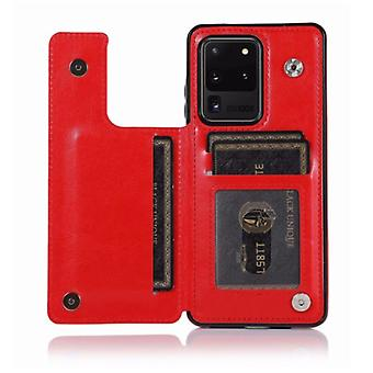 WeFor Samsung Galaxy S20 Retro Leather Flip Case Wallet - Wallet PU Leather Cover Cas Case Red