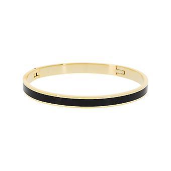 Bracelete jonc 'apos;TORONTO'apos; Acabamento ouro de esmalte preto