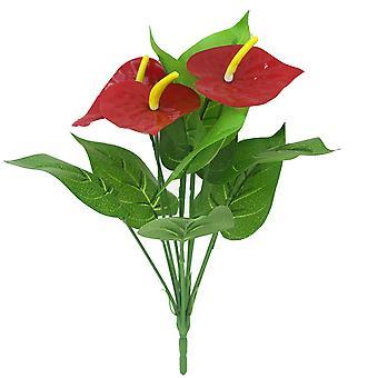 Künstliche Pflanze 12 Köpfe Anthurium andraeanum Lind Blumen Kunststoff gefälschte grüne Pflanzen 3pcs