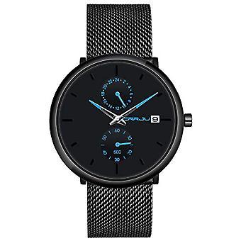 SUPBRO Minimalist quartz thin men's watches with black mesh strap(8)