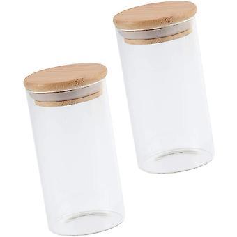FengChun 2 Stück 350ML Vorratsglas mit Bambus Deckel Glas Vorratsdose Runde Glasdose Kaffeedose
