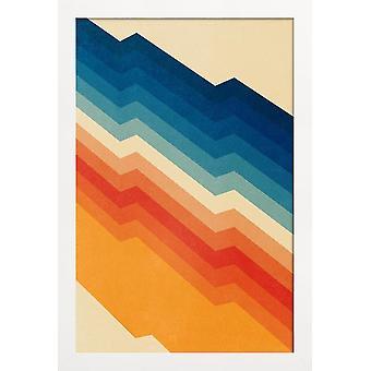 JUNIQE Print - Barrikad - Abstrakt och geometrisk affisch i blått och krämvitt
