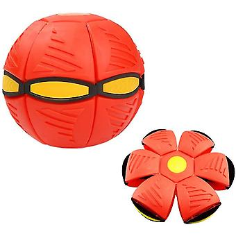 Luminous Ufo Saucer Ball Deformed Flying Flat Throw Disc Ball Frisbee Outdoor Sports Game Toy(Red)