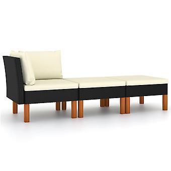 vidaXL 3 stk. Have Lounge Sæt Poly Rattan og Eucalyptus massivt træ