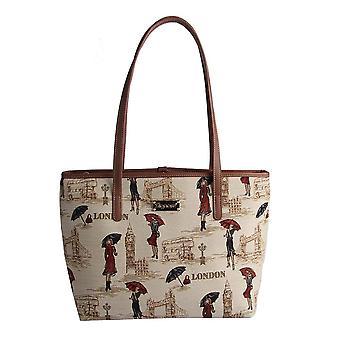 Miss london shoulder tote bag   tapestry college bag   coll-msln