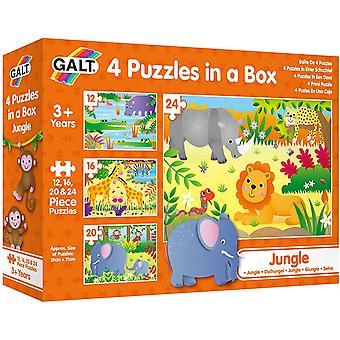 Galt Leker, 4 Puslespill i en boks - Jungle, Animal Jigsaw