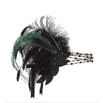 נוצה שחורה טורבן אביזרי שיער ראש מותאם אישית