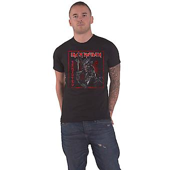 Iron Maiden T Shirt Senjutsu Cover Distressed Red new Official Mens Black