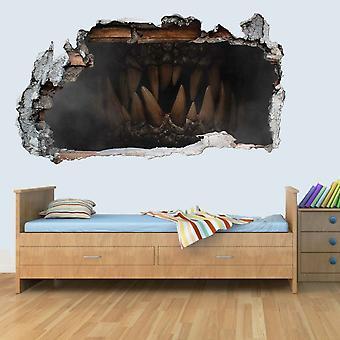 Breakout Dinosaur Jurassic Teeth 3D Kids Wall Art Decal Vinyl Sticker Smashed