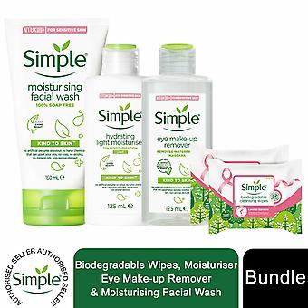 Enkelt paket med bioservetter, eye make-up remover, ansiktstvätt & ljus fuktkräm