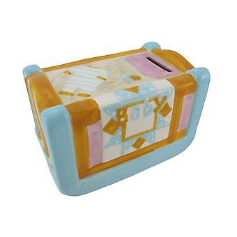 Ceramic Pastel Baby Crib Coin Bank