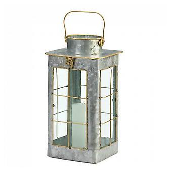 Galleri av lys våningshus galvanisert metall stearinlys lykt - 14 inches, pakke med 1