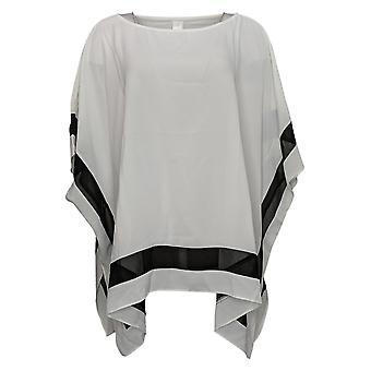 WynneLayers Women's Sweater Washed Crepe Poncho w/ Chiffon White 758628