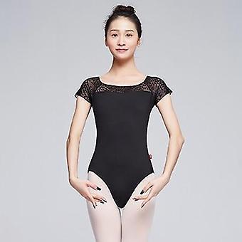 Женщины с коротким рукавом Кружевное сращивание Нейлон Купальник Балерина Одежда