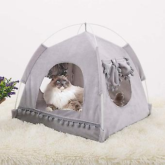 Animal Tent With Windows And Doors, Easy To Assemble, Easy To Store And Clean (gray)